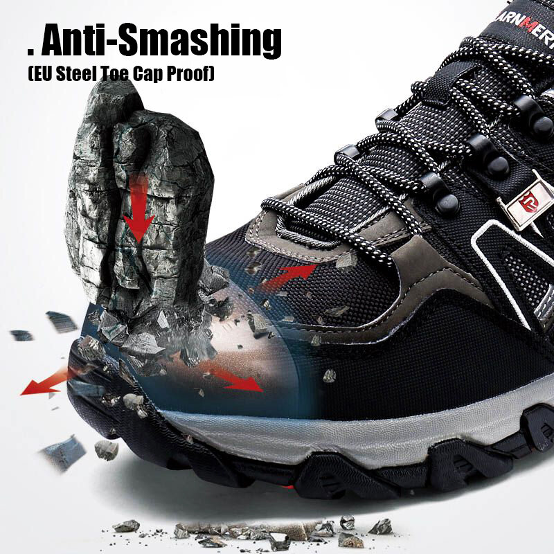 LARNMERN – Chaussures de sécurité respirantes avec bout en acier pour homme, antidérapantes, SRC, de travail, baskets de randonnée, de protection, durables