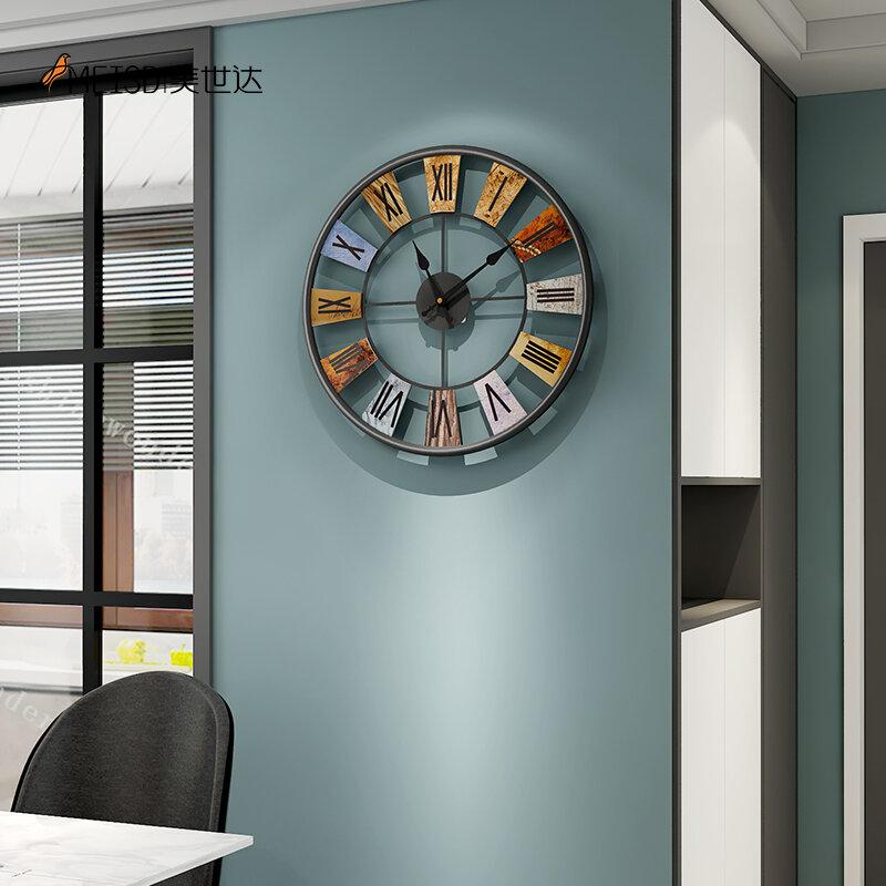 MEISD 빈티지 금속 벽시계 중간 장식 라운드 레트로 시계 단철 아트 거실 주방 Horloge 무료 배송