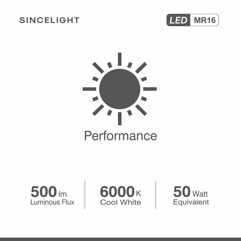 MR16 LED 반사판 전구 6 개 팩, Gu5.3 베이스, 6W,12V AC/DC,2700K,4000K,6000K (비 조광/스포트라이트/다운 라이트)