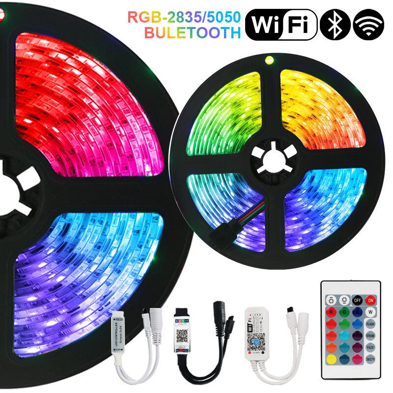 5M10M15M DC12V Led SMD2835 RGB5050 Luces de tira de LED Bluetooth WiFi Luces Flexible Control remoto de iluminación cinta impermeable de diodo