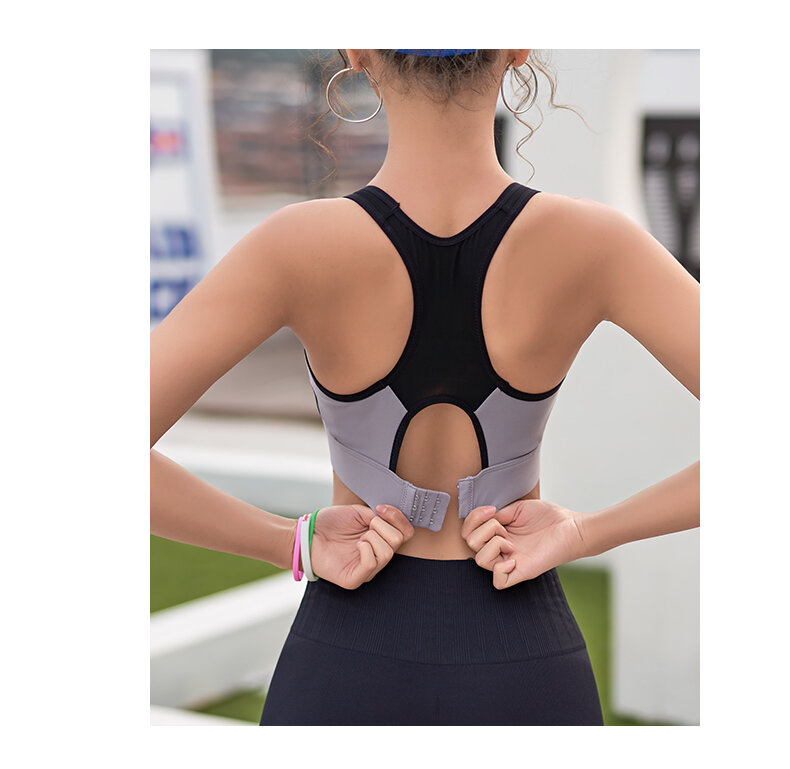2021 new sports underwear women's running shockproof can be worn out vest bra integrated fitness bra