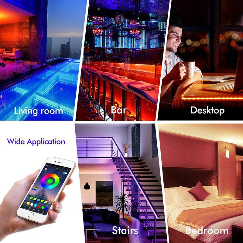 Cintas de luz LED RGB con Bluetooth 5050, SMD, CC de 12V, cinta Flexible para TV, ordenador, dormitorio, lámpara de luz de fondo, Control de teléfono