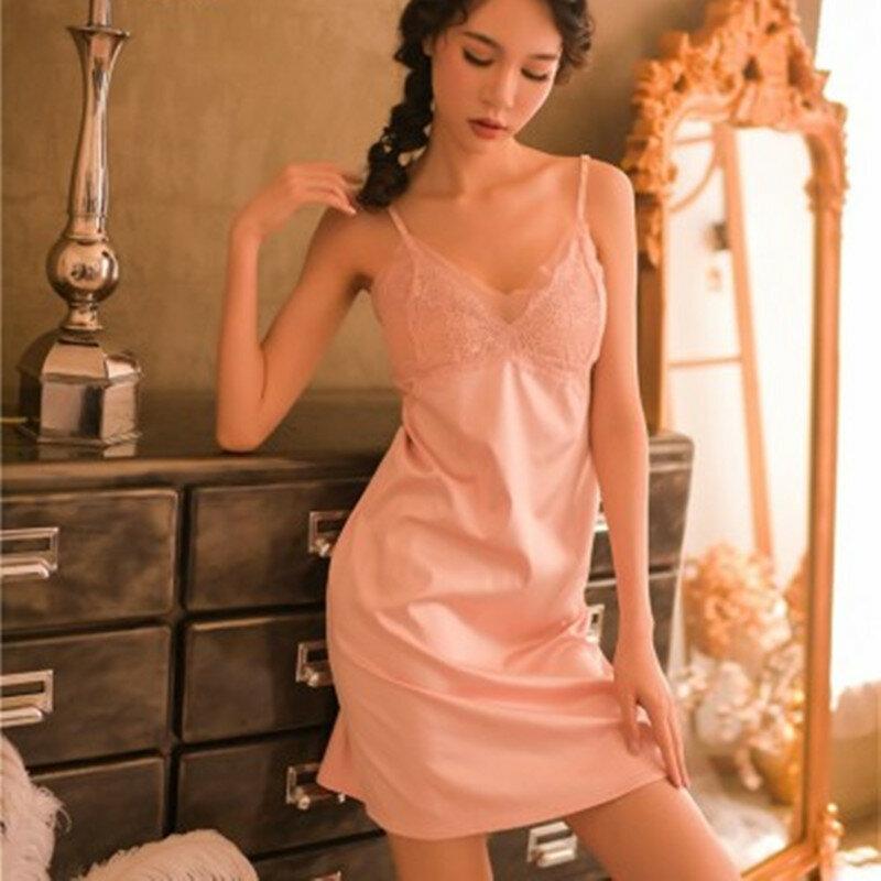 ฤดูร้อนลูกไม้ Nightdress เซ็กซี่ Nightgown ผู้หญิงชุดนอนสไตล์ใหม่ V คอ Backless สลิงชุดนอนซาตินชุดนอน