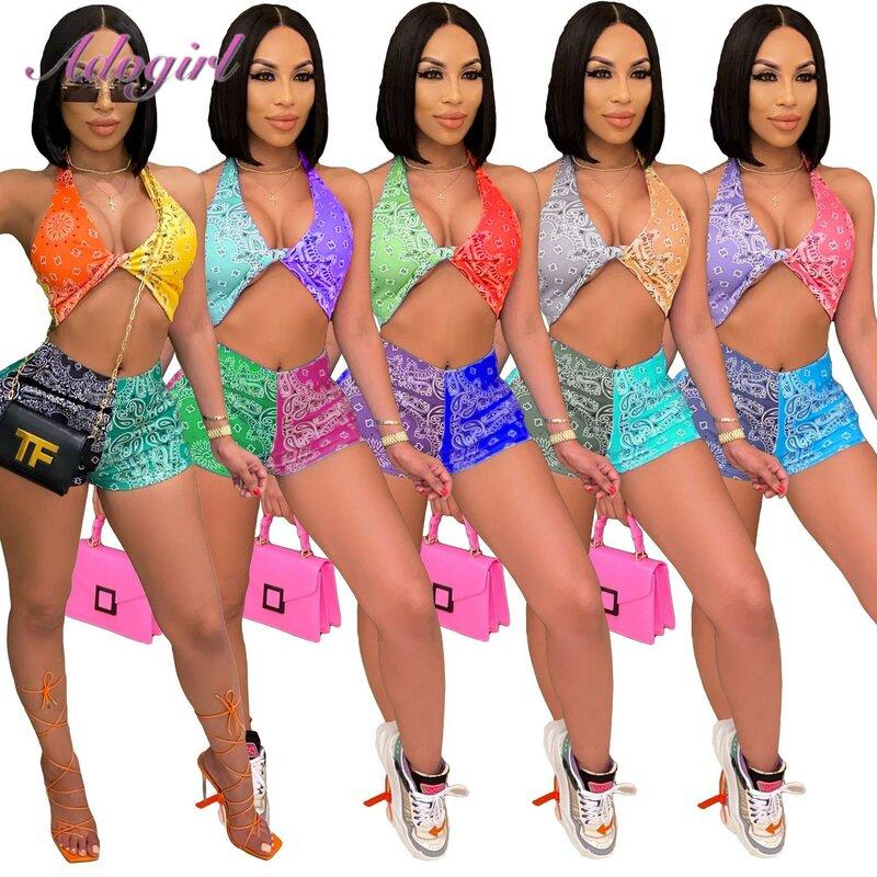 Workout Bandana Print Sommer Zwei Stück Sets Frauen Sexy Halter Bh Crop Top Shorts Outfit Strand Passenden Set Sportwear Trainingsanzug