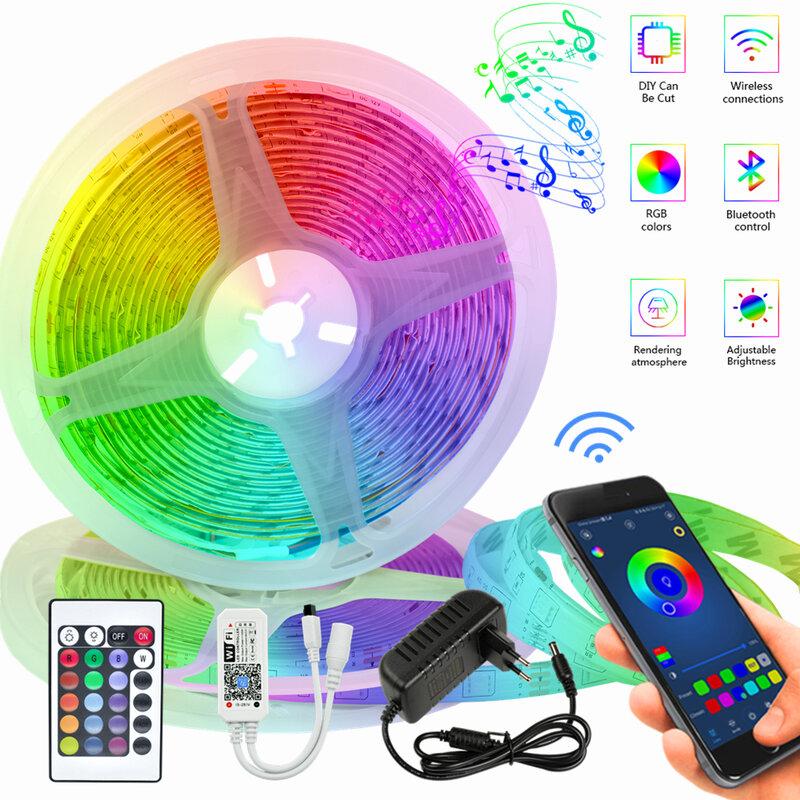 Tiras de luz LED infrarrojo resistente al agua para interior, luces RGB de 5M y 10M, controlador Bluetooth + adaptador, 20M