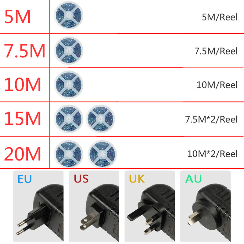 LED 스트립 라이트 블루투스 TV Iuces RGB 5050 SMD 2835 방수 유연한 램프 테이프 리본 다이오드 백라이트 DC 12V 5M 10M 15M 20M