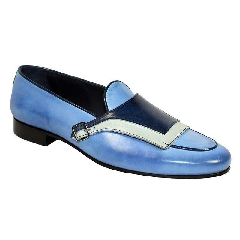 Men's PU Blue Stitching Buckle Decoration Low-heel Comfortable and Fashionable Everyday Business Casual Loafers 8KH043
