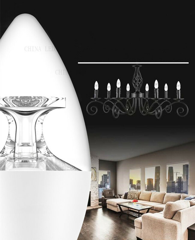 10 개 E27 E14 LED 전구 촛불 AC110V 220V 5W 우수한 밝은 샹들리에 촛불 전구 클리어 크리스탈 LED 조명 높은 발광 C37