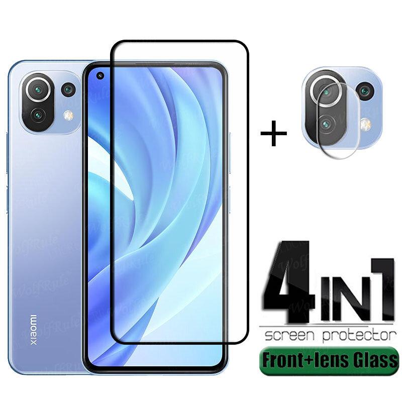 4-in-1 Für Xiaomi Mi 11 Lite Glas Für Mi 11 Lite Schutz Glas Volle Kleber Abdeckung HD Screen Protector Für Mi 11 Lite Objektiv Glas