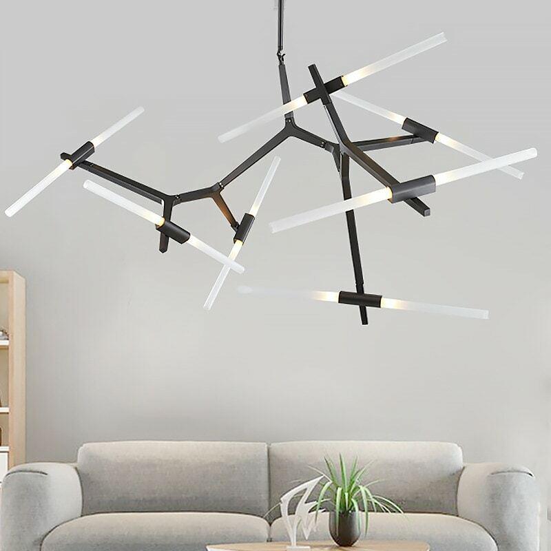 현대 LED 샹들리에 천장 샹들리에 거실 침실 부엌 광택 유리 램프 북유럽 실내 조명기구