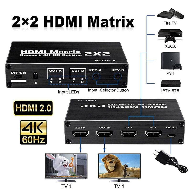 Interruptor Divisor 4k 60hz Matriz Hdmi 2x2 Compatible Con Hdcp 1 4 Ir Control Remoto Interruptor Hdmi 2 En 2 Matriz Hdmi De Salida Bestdealplus