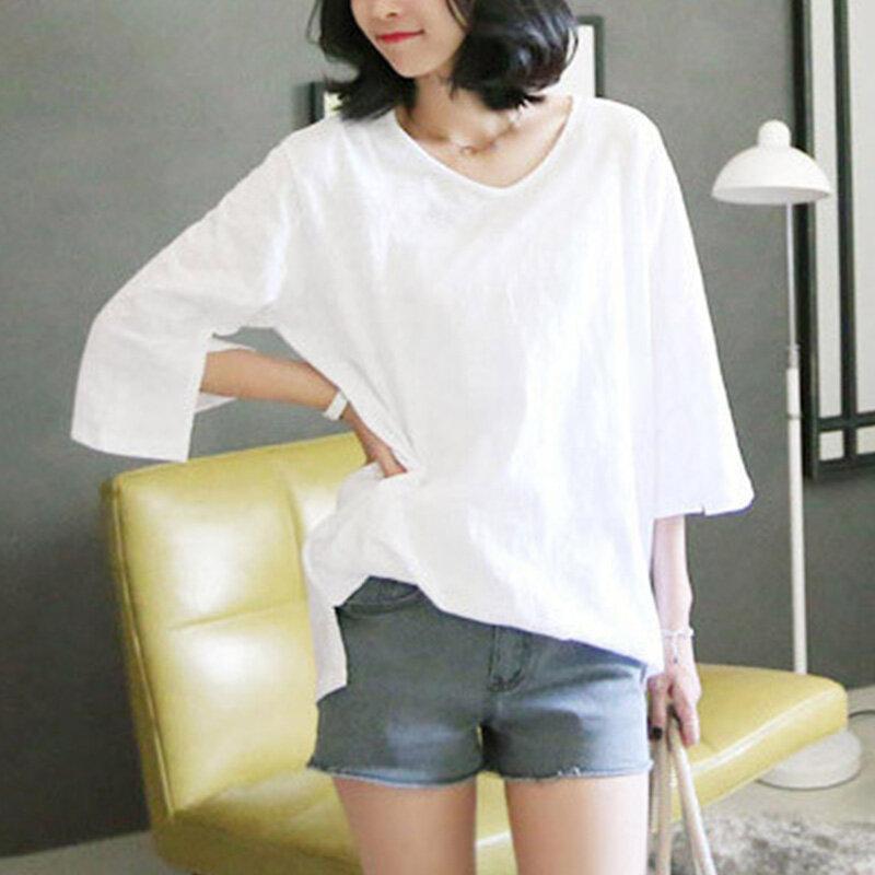 Camiseta blanca de manga corta de algodón para mujer, Camiseta holgada de manga larga de tres cuartos, verano y otoño, 2020