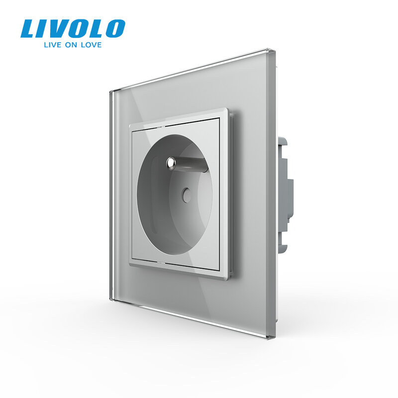 Livolo جديد منفذ ، الفرنسية القياسية جدار السلطة المقبس ، VL-C7C1FR-11 ، الأبيض كريستال لوحة زجاج ، AC 100 ~ 250V 16A ، لا شعار