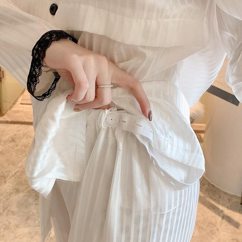 Pijamas de manga larga para mujeres embarazadas, ropa de estar en casa, de seda de hielo, para enfermería posparto, primavera y otoño