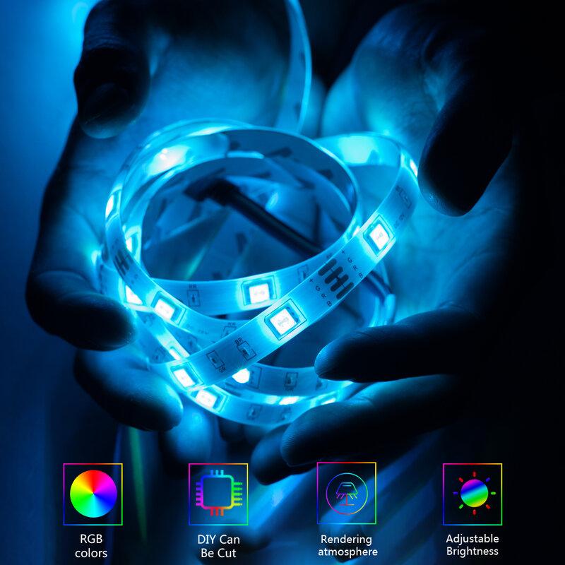 Tira de Luces LED RGB 5050/2835 SMD, cinta Flexible de 12V de CC, para TV, ordenador, dormitorio, lámpara de luz de fondo, decoración