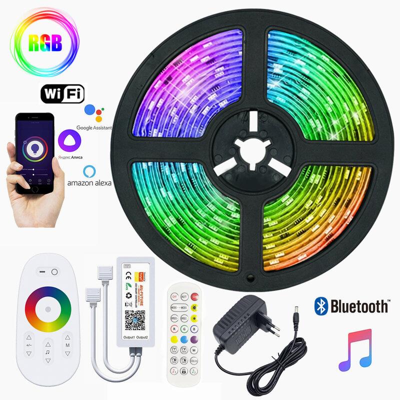Tira de luces LED de cc 12V, cinta de decoración del hogar RGB 5050 2835, cuerda luminosa de diodo Flexible, Bluetooth, WIFI, controlador inteligente