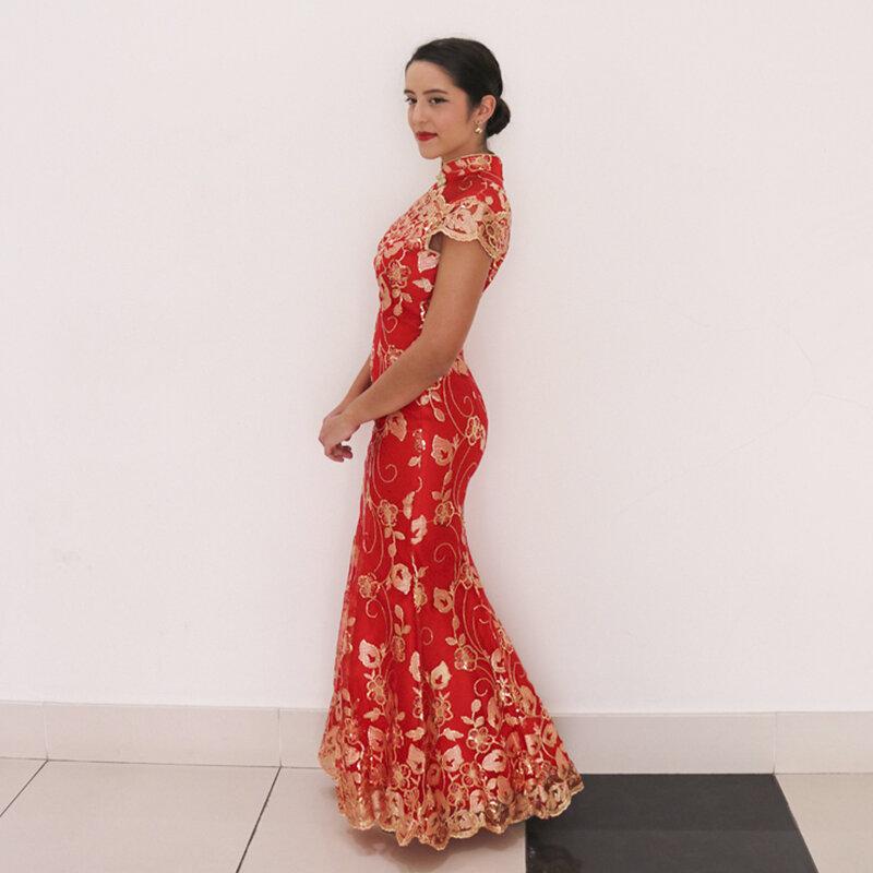 فستان زفاف صيني أحمر ، أكمام قصيرة ، شيونغسام ، ذهبي ، نحيف ، تشيباو تقليدي للنساء ، لحفلات الزفاف