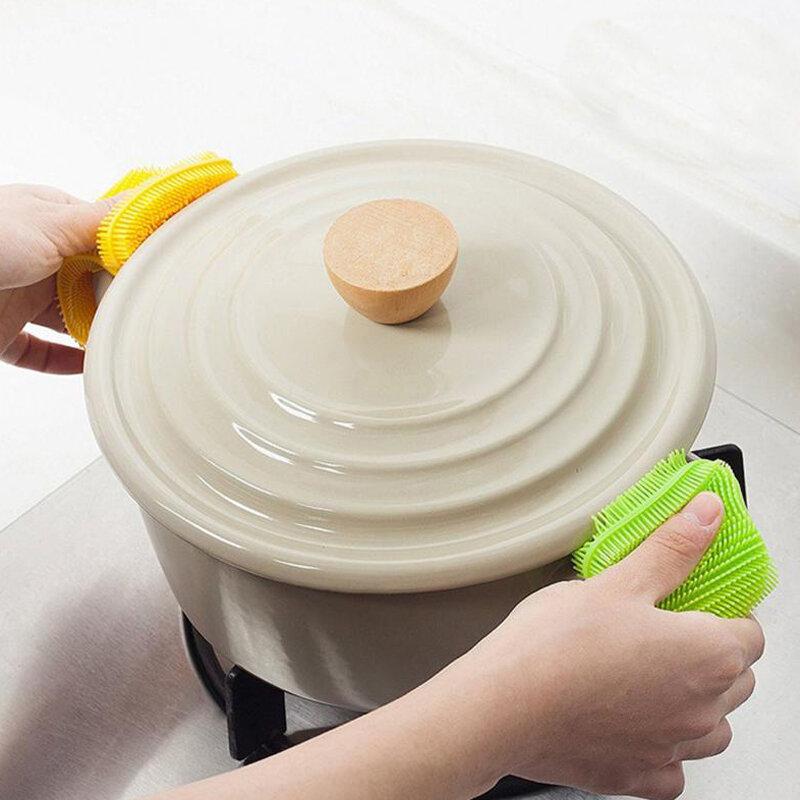 1Pcs 주방 청소 브러시 실리콘 식기 세척 브러시 과일 야채 청소 브러쉬 냄비 팬 스폰지 수색 패드 도구