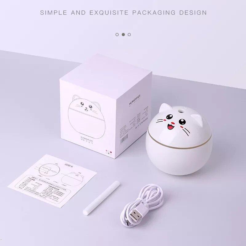 Luftbefeuchter Glückliche Katze USB Ultraschall Nebel Maker Bunte Nacht Lampen Aroma Öl Diffusor Tragbare Mini Reiniger für Heim Auto