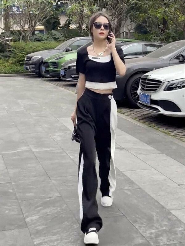 WANYUCL 2021 novedad de verano de las mujeres de moda super caliente tendencia negro de manga corta Pantalón deportivo casual de dos piezas traje de mujer