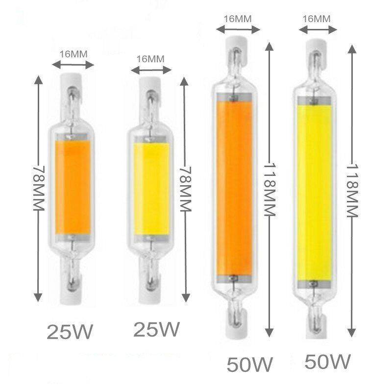새로운 LED R7S COB 유리 튜브 전구 78MM 25W 118MM 50W R7S 옥수수 램프 J78 J118 할로겐 빛을 대체 100W 150W AC 220V 110V Lampadas