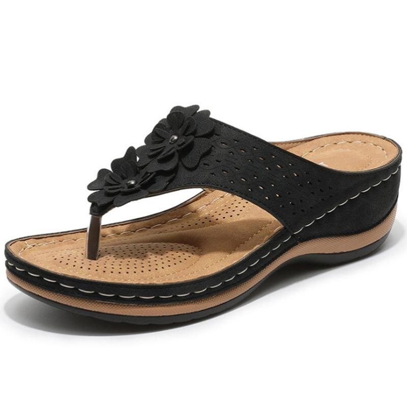 Summer Shoes for Women Slippers Bohemia Flowers Wedges Ladies Sandals Non-Slip Sewing Flip Flops Fashion Female Slides Mujer