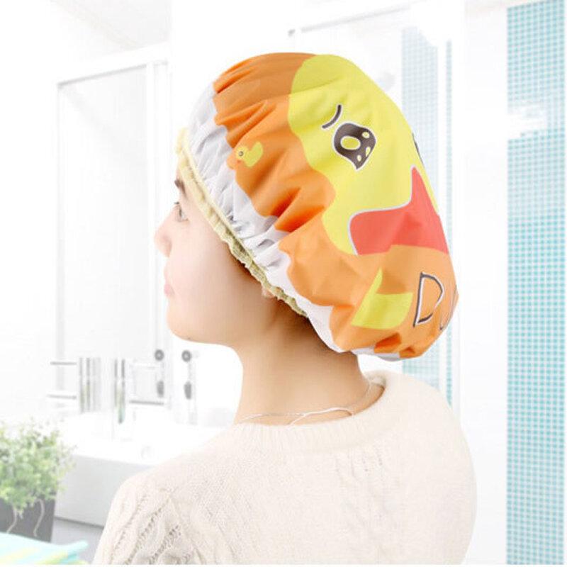 Cuffia da doccia per animali da cartone animato PVC riutilizzabile parrucchiere prodotti da bagno cuffia da bagno elastica impermeabile per donna accessorio da bagno