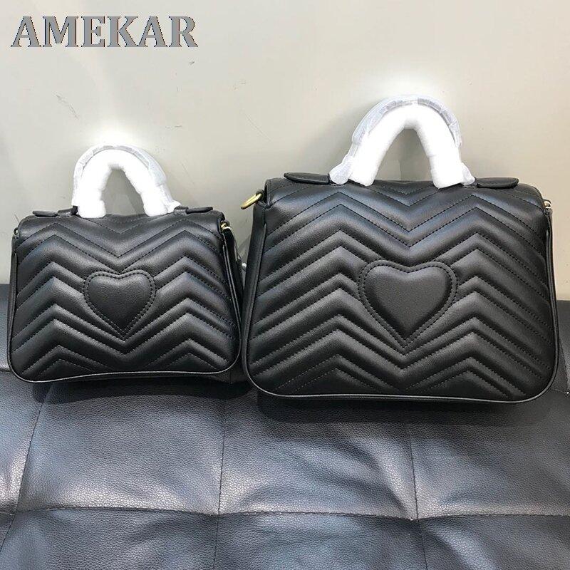 Classic double g wavy postman bag Marmont Love Chain Bag Mini Leather cross arm portable GG women's bag