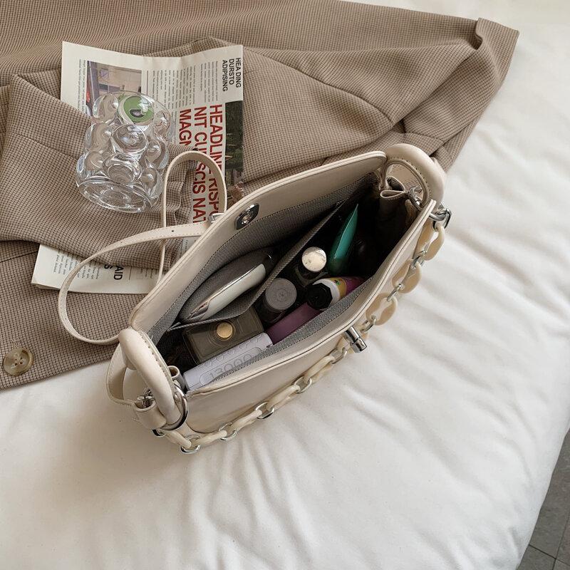 De cuero de alta calidad Color sólido cadena bolsas de hombro para mujeres 2021 bolso de las señoras conciso Casual pequeño cuadrado bolsa Sac Epaule