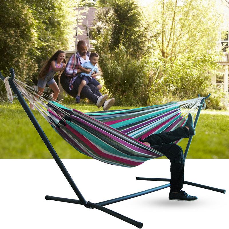 2 인용 해먹 캠핑 두꺼운 스윙 의자 야외 행잉 침대 캔버스 락킹 체어 해먹 스탠드 없음