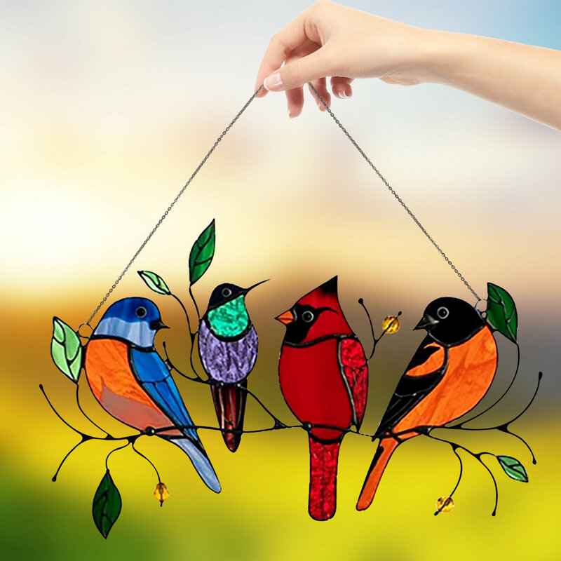 Panel de cristal Multicolor para decoración de habitaciones, atrapasol de alta intensidad con diseño de pájaros en un cable, ideal para decoración de habitaciones