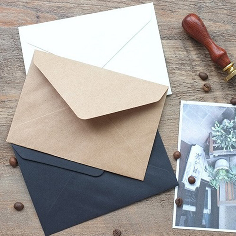 50 teile/satz Vintage Braun Weiß schwarz Kraft blank mini papier fenster umschläge hochzeit einladung umschlag/geschenk umschlag/3 farbe