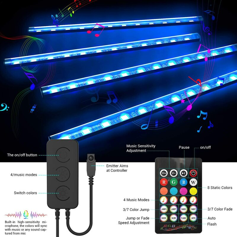 Tira de luces LED 4 en 1 para decoración del Interior del coche, lámpara ambiental con Bluetooth, Control por aplicación, RGB, carga USB, resistente al agua