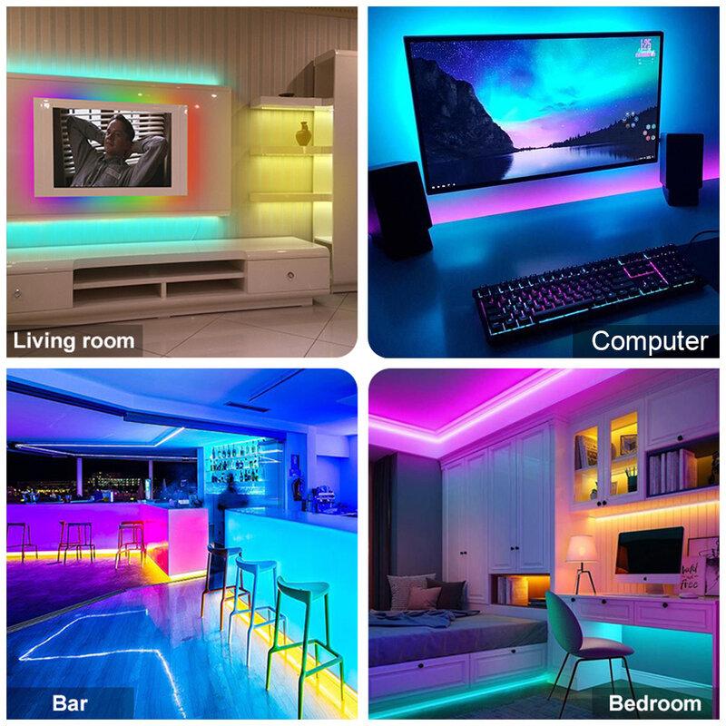 WiFi 5050 RGB LED Strip Light 2835 5M-40M RGBWW luci a LED RGB LED nastro diodo nastro flessibile Bluetooth controllo adattatore cc