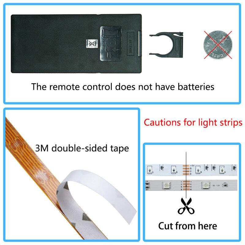 Tira de luces LED con Bluetooth, controlador WIFI RGB SMD 5050 2835, cinta Flexible de retroiluminación para TV, ordenador, dormitorio, cinta de diodos