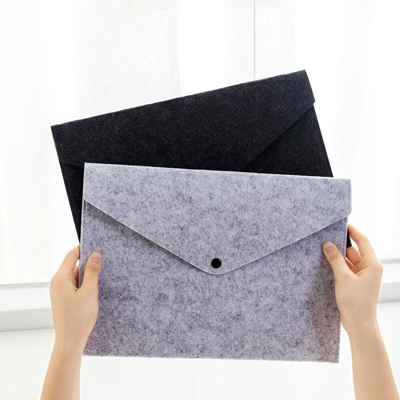 Ezone 1pc A4 De Alta Qualidade Feltro Pasta Velada Botão Design Grande Capacidade Envelope Documento Saco Organizador De Arquivos De Escritório Saco 24 34cm Produtos De Arquivamento