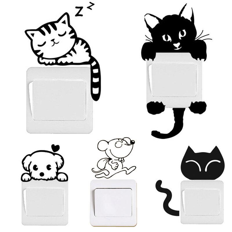 DIY Lustige Nette Schwarze Katze Hund Ratte Maus Animls Schalter Aufkleber Wand Aufkleber Hause Abziehbilder Schlafzimmer Kinder Zimmer Licht Parlor decor
