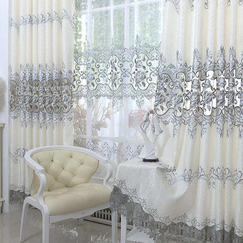 럭셔리 유럽 수 놓은 Tulle 창 커튼 거실 침실 블랙 아웃 커튼 창 치료 커튼 홈 장식
