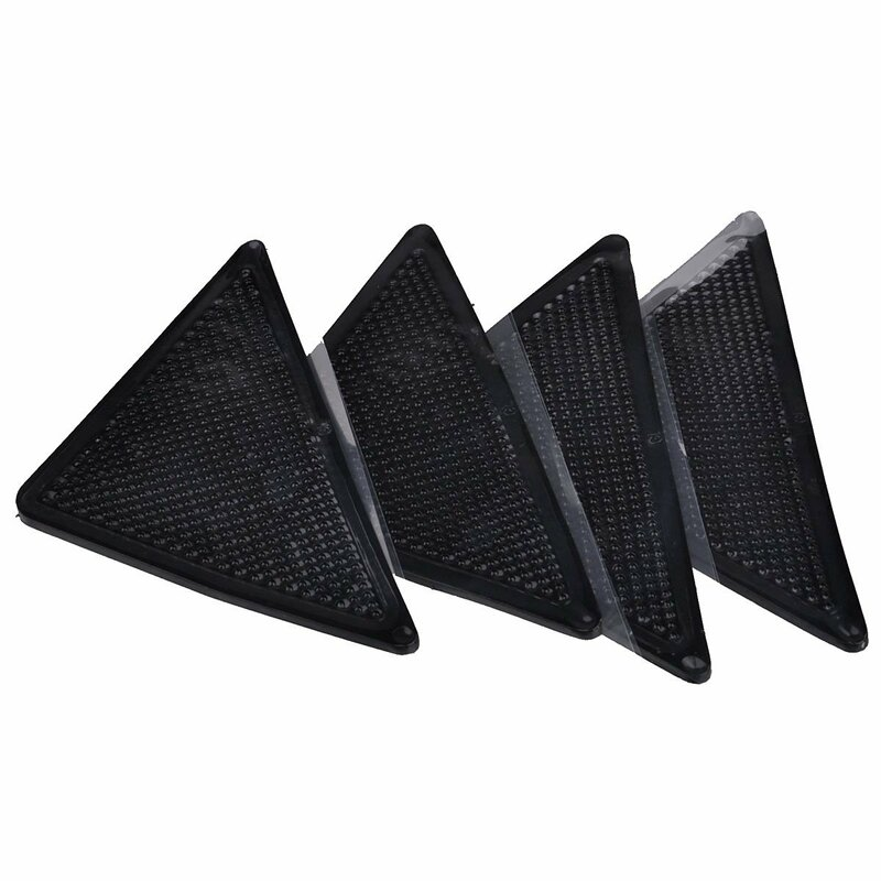 Nuovo 4 pz/set 15*7.5cm Riutilizzabile e-a forma di Anti-skid Pavimento In Gomma Tappeto Zerbino Tappetini Pinza fermacorda E Ganci Nastro Adesivo (Nero)