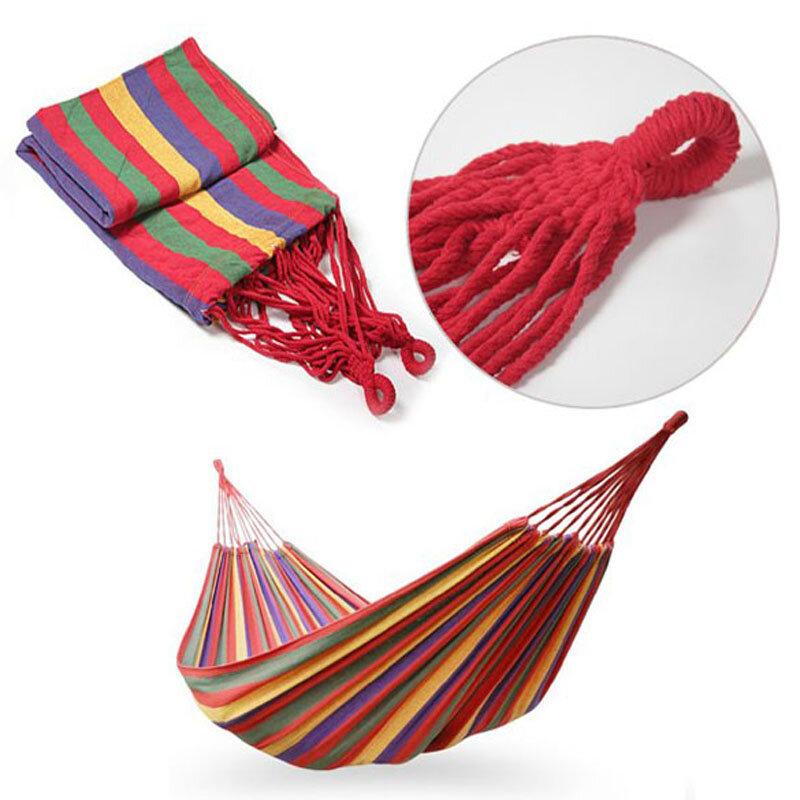 휴대용 해먹 야외 해먹 가든 스포츠 홈 여행 캠핑 스윙 캔버스 스트라이프 교수형 침대 해먹 빨강, 파랑 190x80 cm