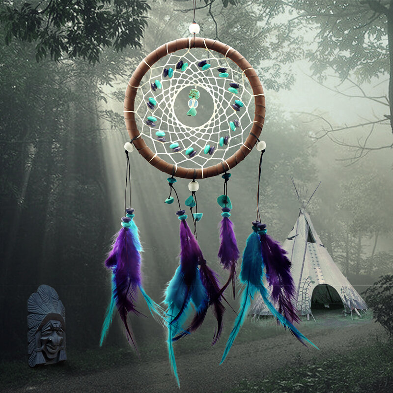 Filet attrape-rêves Antique Imitation | Filet attrape-rêves avec plumes de pierre naturelle, ornement de décoration mural suspendu