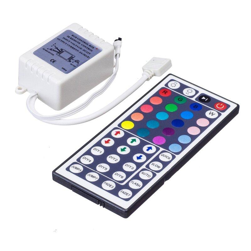 Controlador Led de 44 llaves Controlador LED RGB luces LED controlador remoto IR Dimmer DC12V 6A para RGB 3528 tira de LED 5050