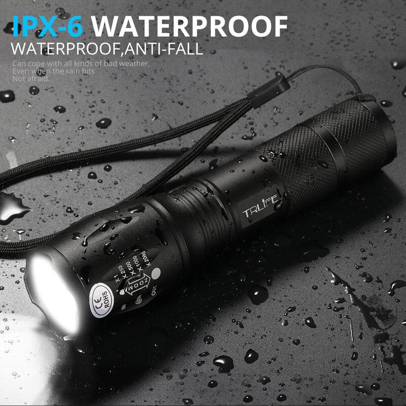 8000LM LED Taschenlampe Helle Taktische Camping Angeln T6 V6 L2 Aufladbare Taschenlampe Wasserdicht Lanterna Selbstverteidigung Verwenden 18650