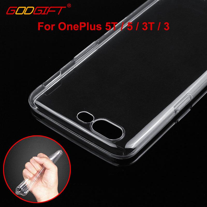 GodGift OnePlus 6 حالة شفافة OnePlus 5 طن سيليكون لينة غطاء جراب هاتف ل OnePlus 5 طن 3 طن 3 عودة غطاء واحد Plus6 حالة