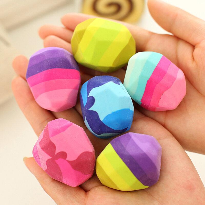 Borrador Kawaii con forma de piedra de colores, gansos en goma suave, borradores irregulares, bolígrafo grande, suministros de papelería para estudiantes