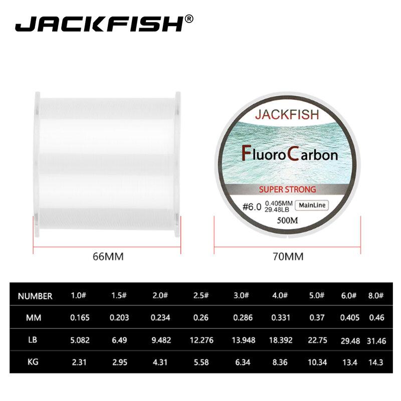 JACKFISH vendita calda 500M lenza da pesca in fluorocarbonio 5-32LB test linea Leader in fibra di carbonio 0.165-0.46mm lenza da pesca a mosca pesca