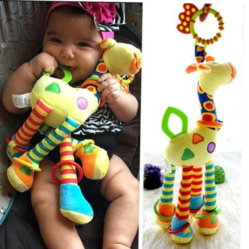 Juguetes de peluche para bebés, desarrollo del bebé, jirafa, campanas de animales, sonajeros, juguetes con mango, cochecito, mordedor colgante, juguetes para bebés de 0 a 12 meses
