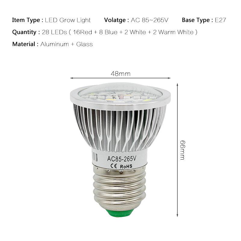 مصباح نمو LED داخلي كامل الطيف ، 5730 E27 28W SMD ، 220V 110V ، مصباح زراعة النبات ، Blub للزهور المائية ، خيمة صندوق