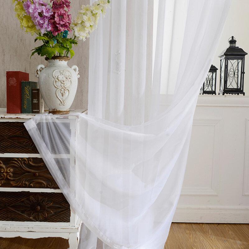 Rideaux de cuisine en Tulle translucide, décoration moderne pour fenêtre de maison, Voile blanc pur pour salon, panneau unique B502