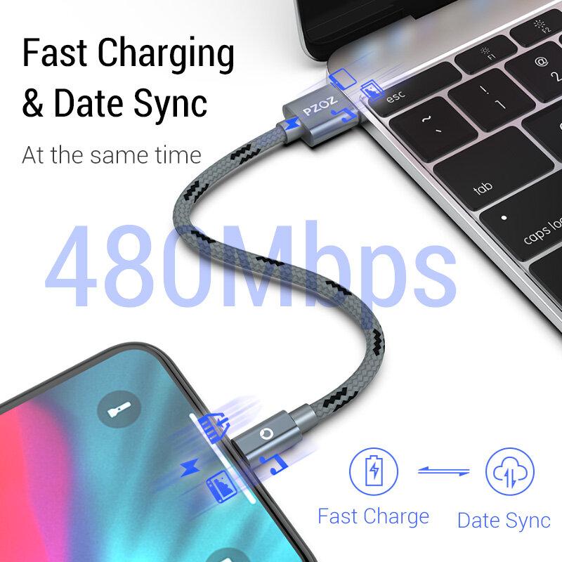 PZOZ Cavo Usb Per il cavo di iphone 11 12 13 pro max Xs Xr X SE 2 8 7 6 plus 6s 5 5s ipad air mini 4 veloce cavi di ricarica Per il caricatore di iphone